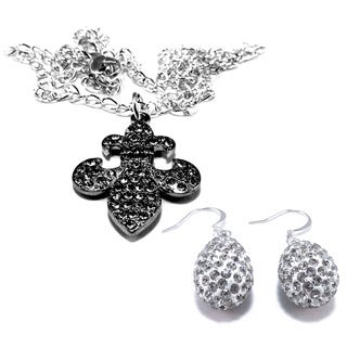 Clear Crystal Fleur di Lis Pendant and Earring Set
