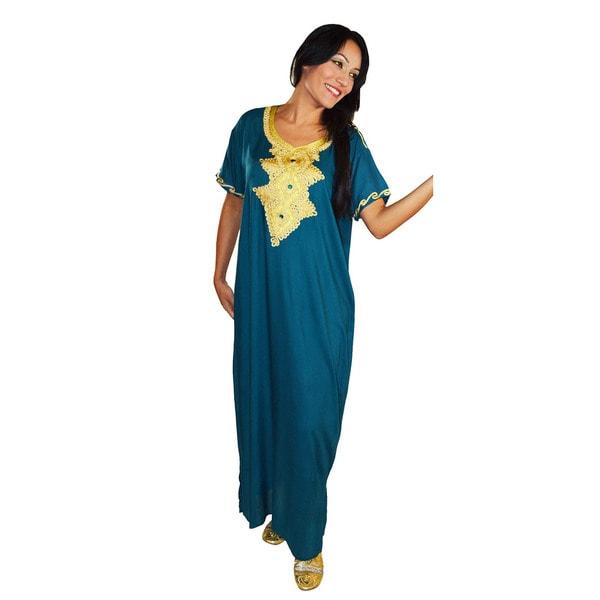 Moroccan Handmade Women's Andalusia Cotton Long Caftan with Gold Embroidered Fiber 14450086