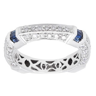 18k White Gold 7/8ct TDW Diamond Blue Sapphire Band (G-H, VS2-SI1)