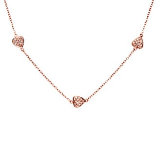 Rose Gold Over Sterling Silver Multi-heart Charm Necklace with White Cubic Zirconia