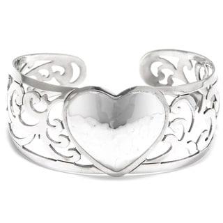 Hammered Sterling Silver Heart Filigree Cuff Bracelet