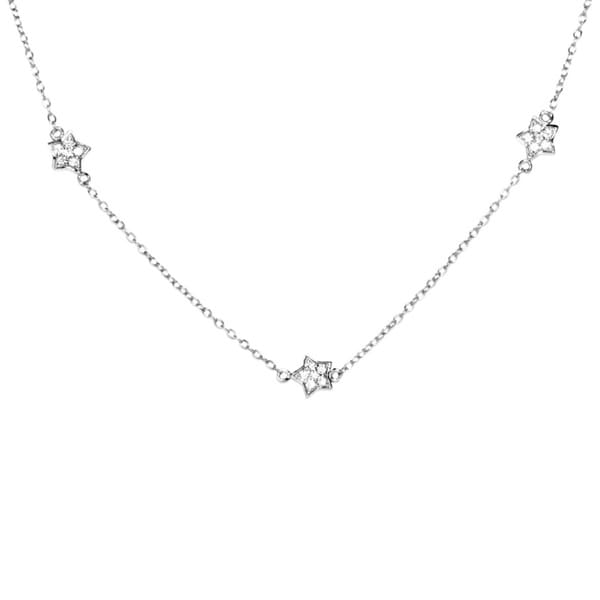 Sterling Silver Multi-star Charm Necklace with White Cubic Zirconia