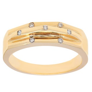 14k Yellow Gold Diamond Accent Contour Wedding Band