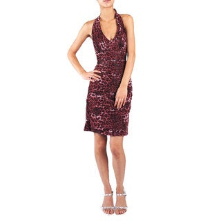 DFI Animal Print Halter Cocktail Dress