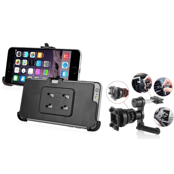 INSTEN Black Swivel Car Air Vent Phone Holder Mount With Phone Holder Plate For Apple iPhone 6 Plus/ iPhone 6+ 5.5-inch