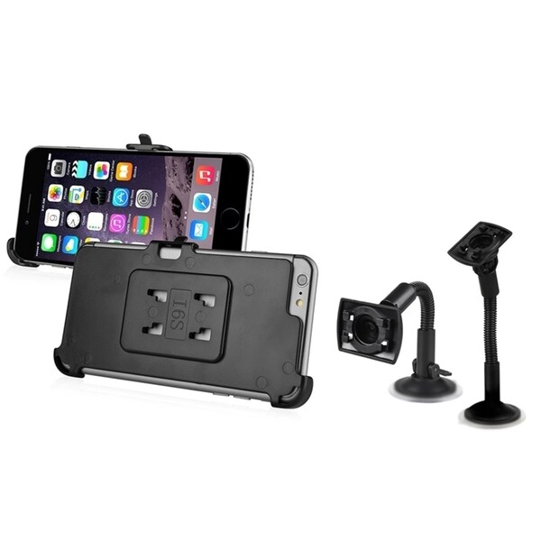 INSTEN Black Windshield Phone Holder Mount With Phone Holder Plate For Apple iPhone 6 Plus/ iPhone 6+ 5.5-inch 14450809