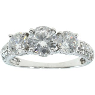 Michael Valitutti 14k White Gold Cubic Zirconia Ring