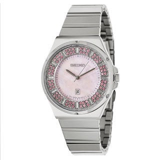 Seiko Women's SXDG13 Stainless Steel and Pink Crystal Watch
