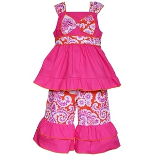 AnnLoren Boutique Girls Hot Pink and Orange Damask Tunic/ Capris 2-piece outfit