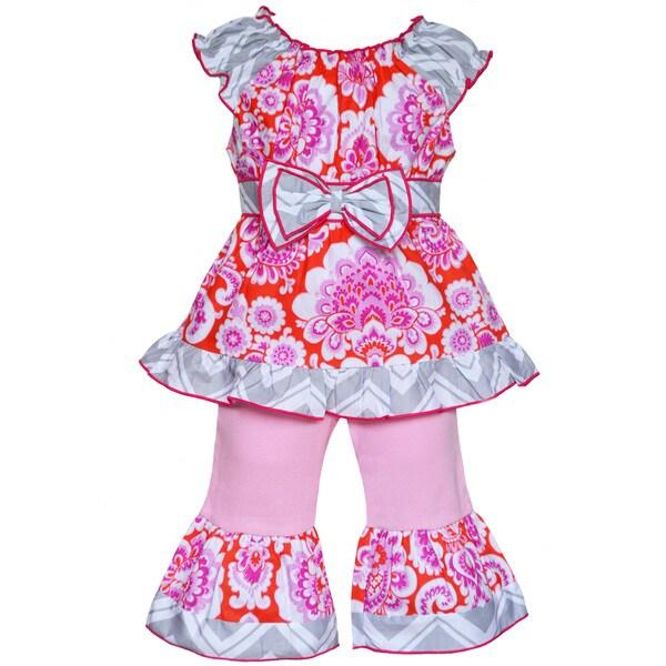 AnnLoren Boutique Girls Orange and Pink Floral Damask Tunic/ Capris 2-piece
