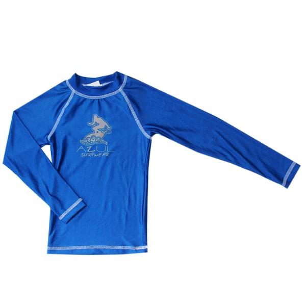 Azul Swimwear Boy's Long Sleeve Royal Blue Solid Rashguard