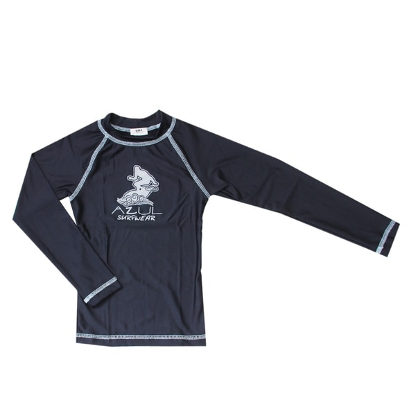 Azul Swimwear Boy's Navy Blue Long Sleeve Rashguard