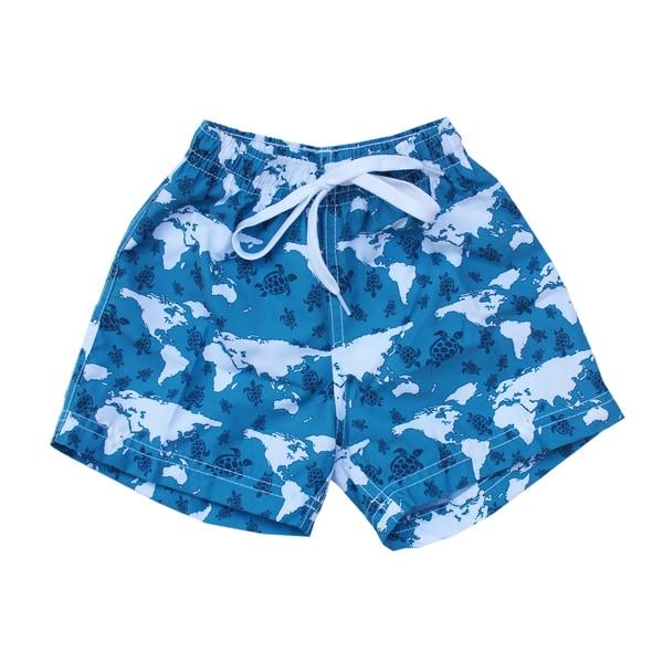 Azul Swimwear Boys 'Turtle World' Blue Swim Shorts