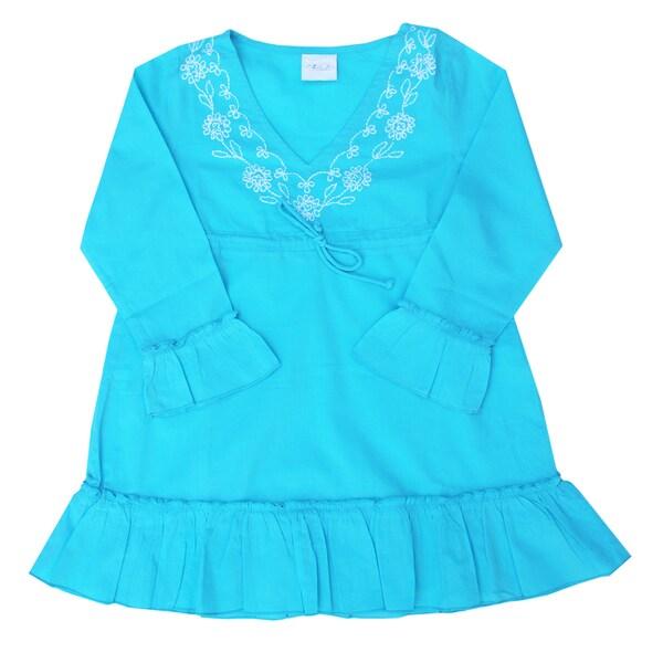 Azul Swimwear Long Sleeve Embroidered Turquoise Ruffle Tunic
