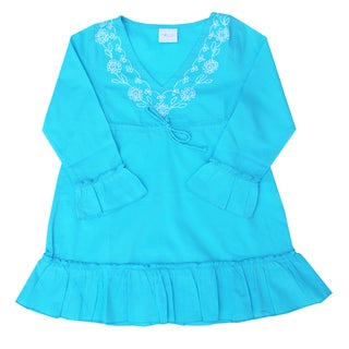 Azul Swimwear Long Sleeve Embroidered Turquoise Ruffle Tunic