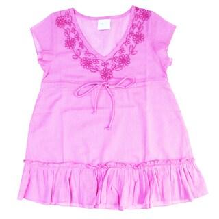 Azul Swimwear Cap Sleeve Pink Embroidered Tunic