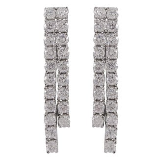 Sterling Silver Cubic Zirconia Two-row Cascade Tennis Earrings