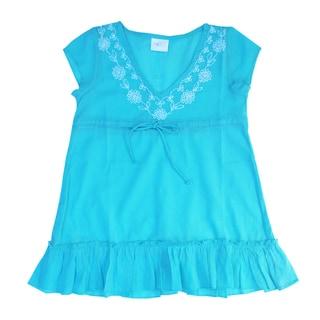 Azul Swimwear Cap Sleeve Embroidered Turquoise Tunic