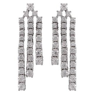 Sterling Silver Cubic Zirconia Three Row Cascade Tennis Earrings