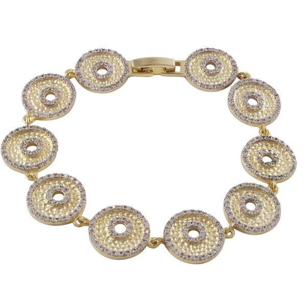 Luxiro Matte Two-tone Gold Finish Cubic Zirconia Hammered Donut Circles Link Bracelet