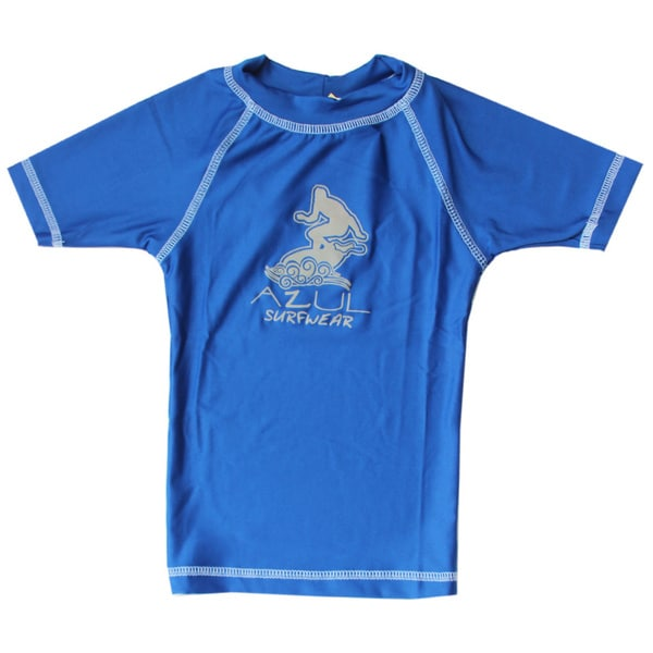 Azul Swmwear Short Sleeve Solid Royal Blue Rash Guard