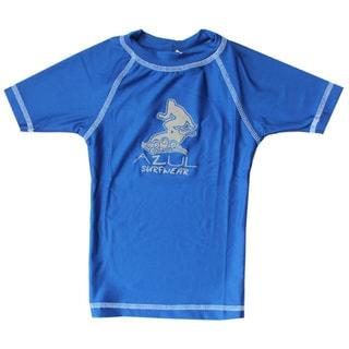 Azul Swmwear Short Sleeve Solid Royal Blue Rash Guard