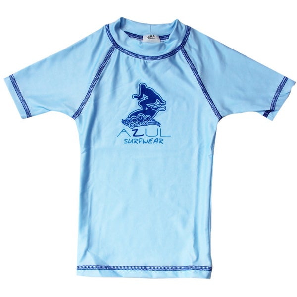 Azul Swimwear Short Sleeve Light Blue Solid Rash Guard
