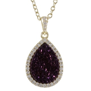 Sterling Silver Druzy Quartz and Cubic Zirconia Teardrop Halo Pendant Necklace