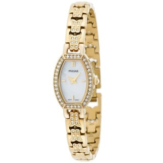Pulsar Women's 'Crystal' PEGC98 Yellow Gold Tone Stainless Steel and Crystals Watch