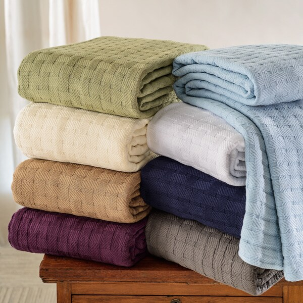 Luxor Treasures All-Season Luxurious 100-percent Cotton Basket Weave Blanket
