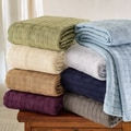 All-Season Luxurious 100-percent Cotton Basket Weave Blanket