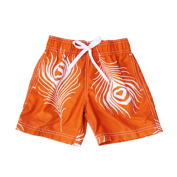 Azul Swimwear Boys Feather Print Orange Swim Shorts