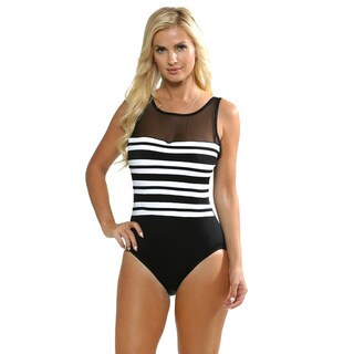 Longitude Women's Black and White Technicolor High-neck One Piece