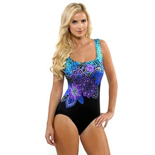 Longitude Women's Blue Floral One-piece Swimsuit