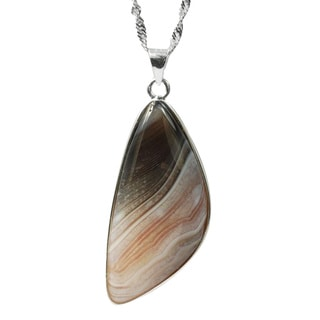 De Buman .925 Sterling Silver Natural Agate Pendant Necklace