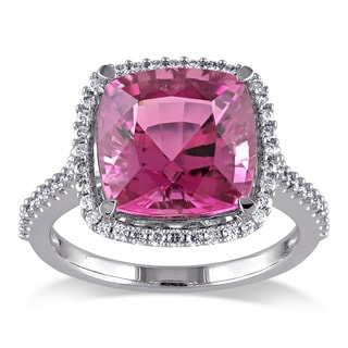 Miadora 14k White Gold Pink Tourmaline and 1/3ct TDW Diamond Cocktail Ring (G-H, SI1-SI2)