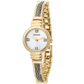 Pulsar 'Crystal' PTA370 Women's Yellow Goldtone Stainless Steel Watch