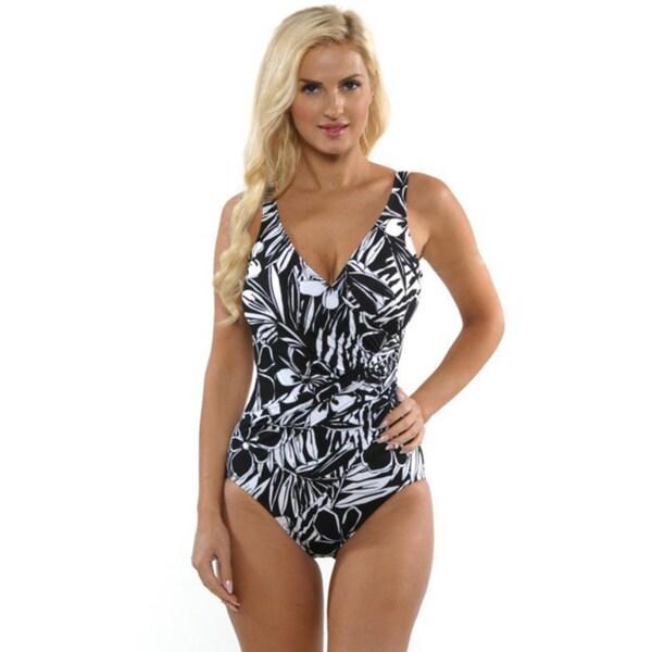 Miraclesuit Women's Black and White Oceanus Swimsuit
