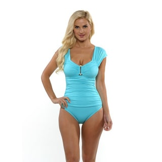 Kenneth Cole Women's Aqua Ruched Hardware One-piece Swimsuit