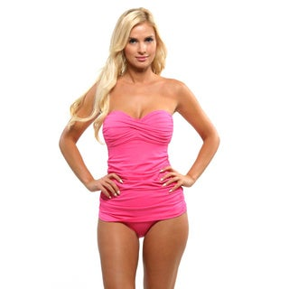 Anne Cole Women's Pink Colorblast Twist-front Bandeau Swim Dress