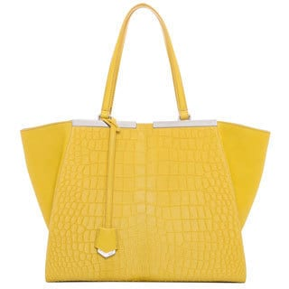 Fendi '3Jours' Large Yellow Leather Croc Printed Shopper