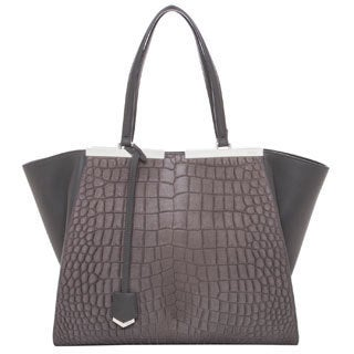 Fendi '3Jours' Large Grey Croc-embossed Leather Shopper