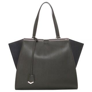 Fendi Moss Green/ Black Bi-color Jours Shopper
