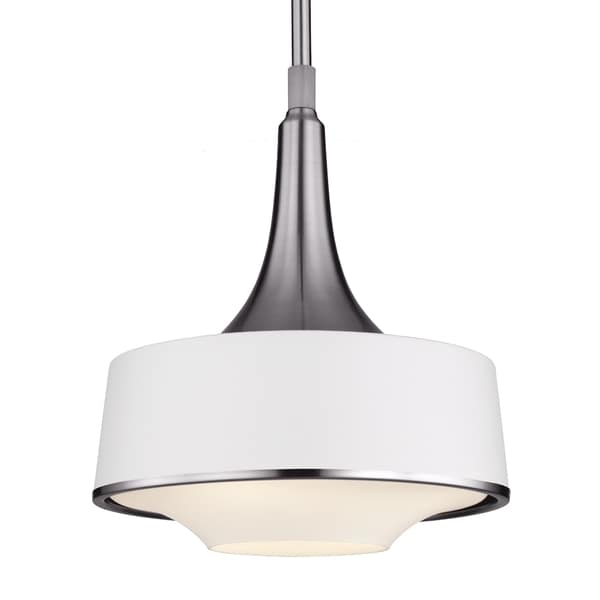 Brushed Steel/Textured White 1-light Pendant