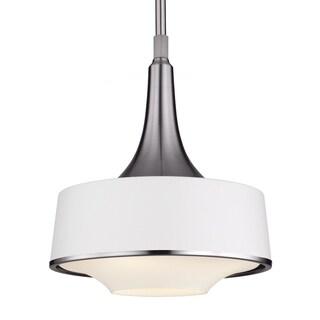 Brushed Steel/Textured White 1-light Pendant