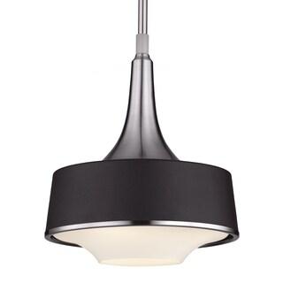 Brushed Steel/Textured Black 1-light Pendant
