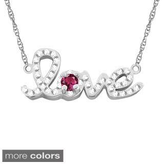 10k Gold Designer 'Love' Cubic Zirconia Accent Birthstone Necklace