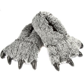 Leisureland Unisex Grey Bear Paw Furry Slippers