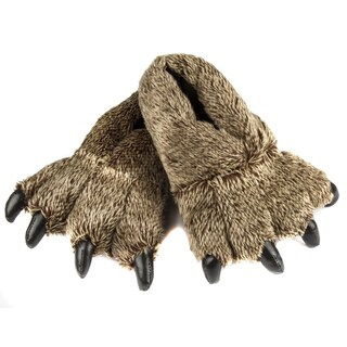 Leisureland Unisex Brown Animal Bear Paw Furry Slippers