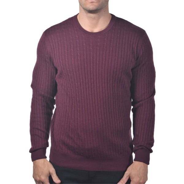 Men's Italian Cashmere and Cabled Silk Sweater